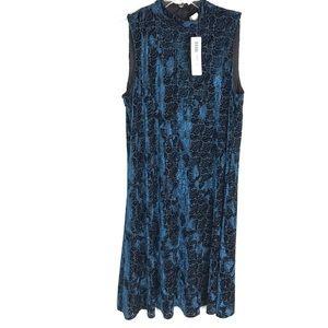 Chico's Geo Burnout dress blue sleeveless velvet 0